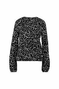 Womens Tall Dalmatian Print Wrap Blouse - black - 8, Black