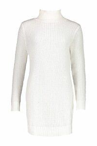 Womens Tall Soft Knit Roll Neck Jumper Dress - white - M, White
