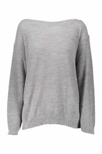 Womens Tall Slash Neck Jumper - grey - S, Grey