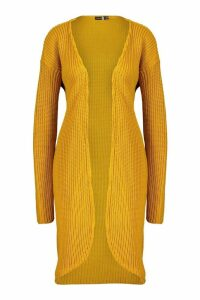 Womens Tall Fisherman Rib Cardigan - yellow - 12, Yellow