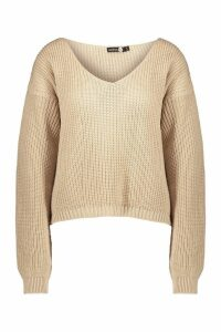 Womens Tall V Neck Jumper - cream - M/L, Cream