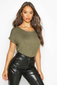Womens Boxy Turn Cuff Basic T-Shirt - green - 14, Green