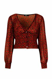 Womens Ditsy Rose Fitted Waist Blouse - black, Black