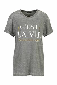 Womens Acid Wash French Slogan Foil Print T-Shirt - grey - M, Grey