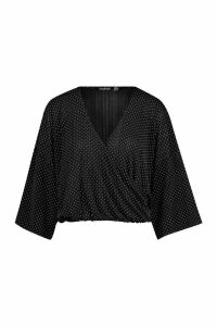 Womens Pleated Polka Dot Kimono Sleeve Wrap Top - black - 14, Black