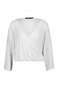 Womens Pleated Polka Dot Kimono Sleeve Wrap Top - white - 14, White