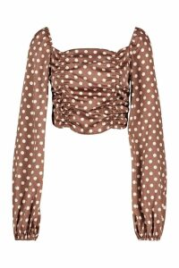 Womens Polka Dot Ruched Peasant Top - brown - 14, Brown