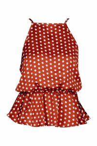 Womens Satin Polka Dot Peplum Blouse - orange - 14, Orange