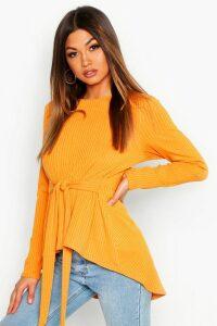 Womens Jumbo Rib Hem Peplum Long Sleeve Top - yellow - 14, Yellow