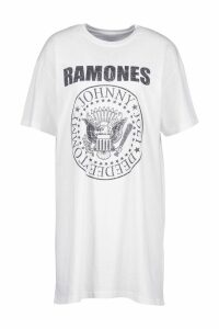 Womens Ramones License T-Shirt Dress - white - 14, White