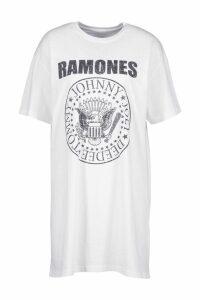Womens Ramones License T-Shirt Dress - white - 16, White