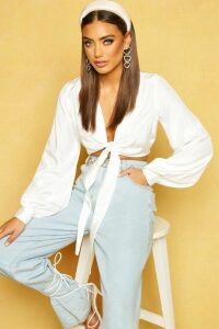 Womens Woven Tie Front Cropped Shirt - white - 10, White