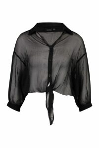 Womens Woven Sheer Tie Front Shirt - black - 14, Black