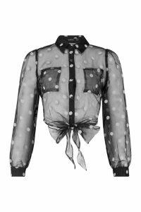 Womens Spot Mesh Tie Front Shirt - black - 12, Black