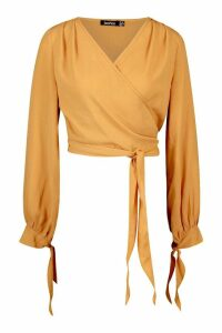 Womens Woven Wrap Tie Cuff Blouse - orange - 12, Orange