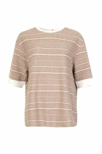 Womens Textured Stripe Boxy T-Shirt - beige - 12, Beige