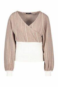 Womens Textured Stripe Wrap Over Top - beige - 16, Beige