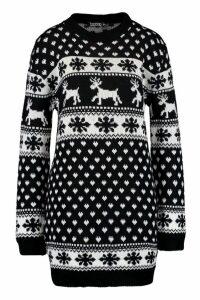 Womens Tall Reindeers & Snowman Christmas Jumper Dress - black - S/M, Black