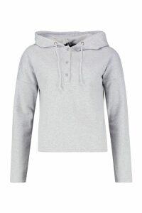 Womens Button Detail Oversized Hoody - grey - M, Grey