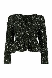Womens Ditsy Floral Tie Front Peplum - black - 8, Black