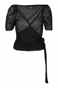 Womens Dobby Chiffon Wrap Blouse - black - 14, Black