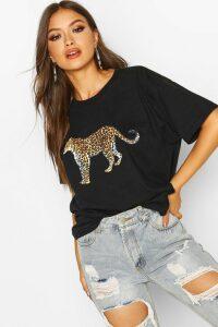 Womens Leopard Graphic Oversized T-Shirt - black - 14, Black