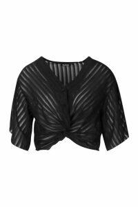 Womens Sheer Stripe Twist Front Blouse - black - 14, Black