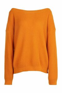 Womens Tall Slash Neck Jumper - orange - M, Orange