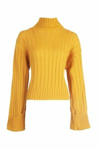 Womens Tall Wide Rib Turn Up Cuff Jumper - yellow - M, Yellow