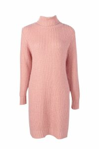 Womens Tall Roll Neck Jumper Dress - pink - L, Pink