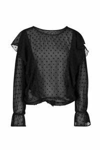 Womens Dobby Mesh Ruffle Sleeve Blouse - black - 14, Black