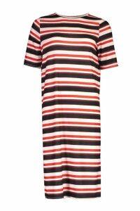 Womens Stripe Split Midi T-Shirt Dress - Pink - 16, Pink