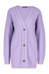 Womens Button Through Cable Knit Cardigan - purple - M, Purple