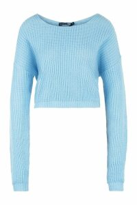 Womens Tall V Back Crop Jumper - blue - M, Blue
