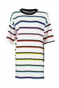Womens Stripe Rainbow T-Shirt Dress - white - 10, White