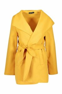 Womens Short Belted Waterfall Coat - yellow - One Size, Yellow