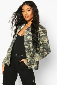 Womens Oversize Camo Denim Jacket - multi - 10, Multi