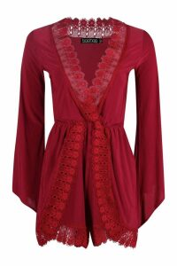 Womens Crochet Trim Oversized Playsuit - red - 12, Red
