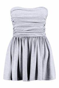Womens Basic Ruched Bandeau Playsuit - grey - 14, Grey