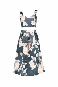 Womens Crop Top & Full Midi Skirt Co-Ord Set - multi - 14, Multi