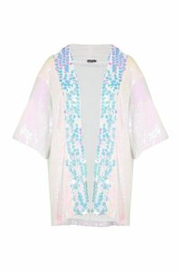 Womens Sequin Panelled Kimono - Pink - S/M, Pink