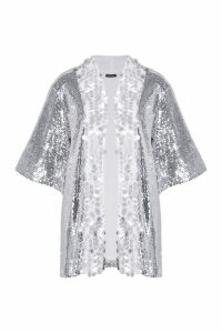 Womens Sequin Panelled Kimono - grey - S/M, Grey