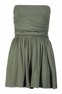 Womens Basic Ruched Bandeau Playsuit - green - 10, Green