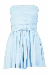 Womens Basic Ruched Bandeau Playsuit - blue - 14, Blue