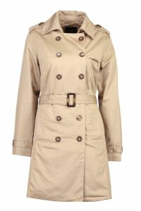 Womens Belted Double Breasted Trench - beige - 16, Beige