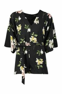 Womens Floral Kimono Sleeve Playsuit - black - M, Black