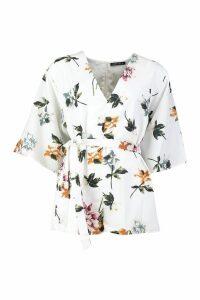 Womens Floral Kimono Sleeve Playsuit - white - L, White