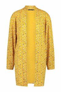 Womens Ditzy Floral Print Kimono - yellow - S, Yellow