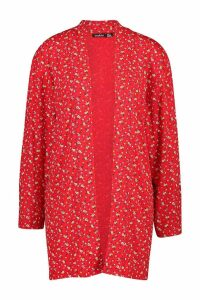 Womens Ditzy Floral Print Kimono - red - M, Red