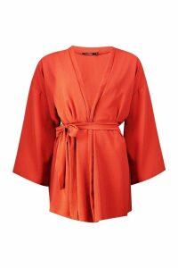 Womens Belted Crepe Kimono - orange - S, Orange
